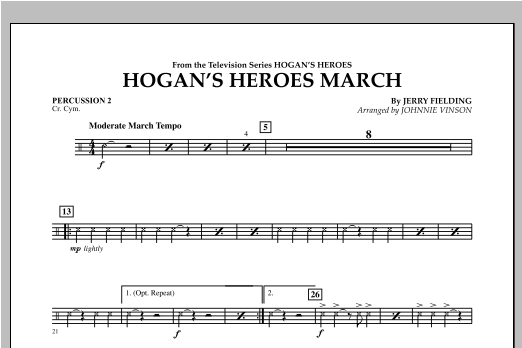 Hogan's Heroes March - Percussion 2 Sheet Music