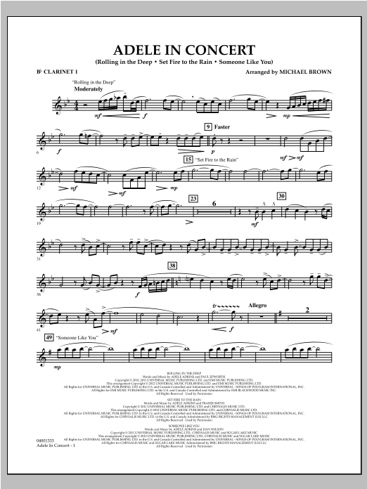 Adele In Concert - Bb Clarinet 1 Sheet Music