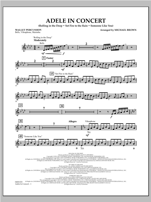 Adele In Concert - Mallet Percussion Sheet Music