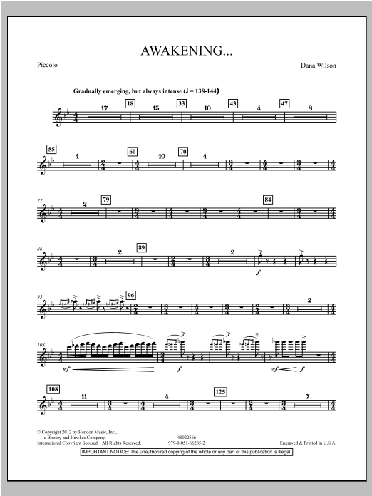 Awakening... - Piccolo Sheet Music