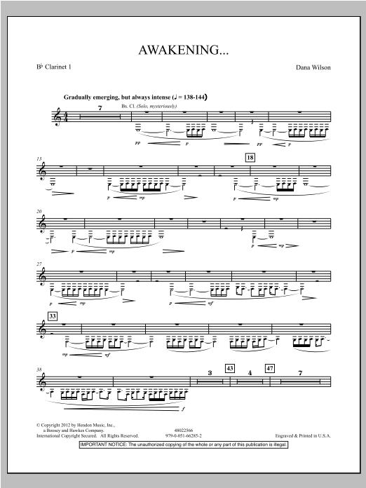 Awakening... - Bb Clarinet 1 Sheet Music