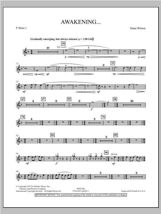 Awakening... - F Horn 1 Sheet Music