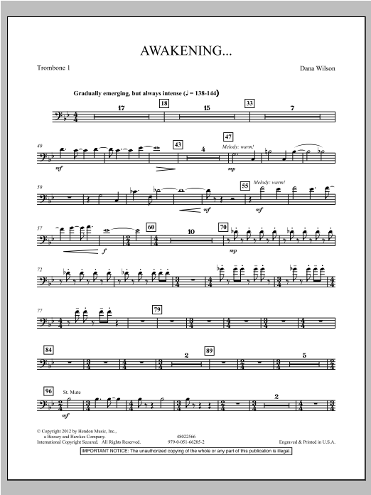 Awakening... - Trombone 1 Sheet Music