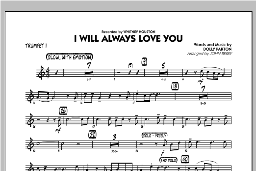 I Will Always Love You - Trumpet 1 Sheet Music