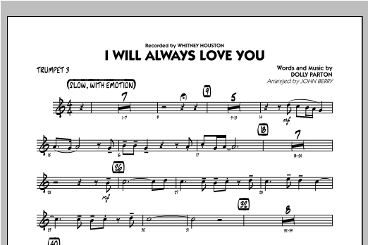 I Will Always Love You - Trumpet 3 Sheet Music