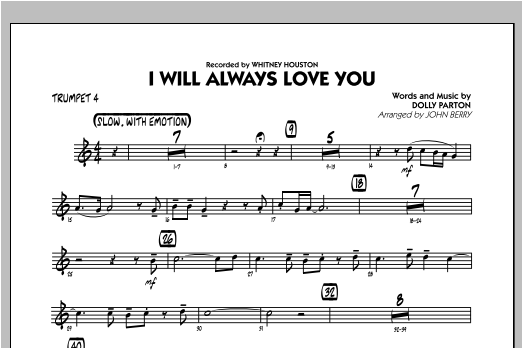I Will Always Love You - Trumpet 4 Sheet Music