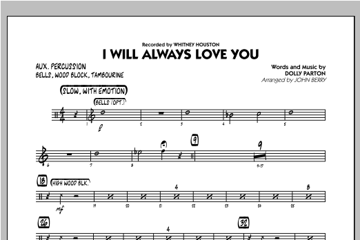 I Will Always Love You - Aux Percussion Sheet Music