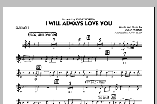 I Will Always Love You - Bb Clarinet 1 Sheet Music