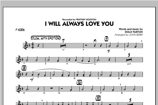I Will Always Love You - F Horn Sheet Music