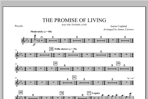 The Promise Of Living (from The Tender Land) - Piccolo Sheet Music