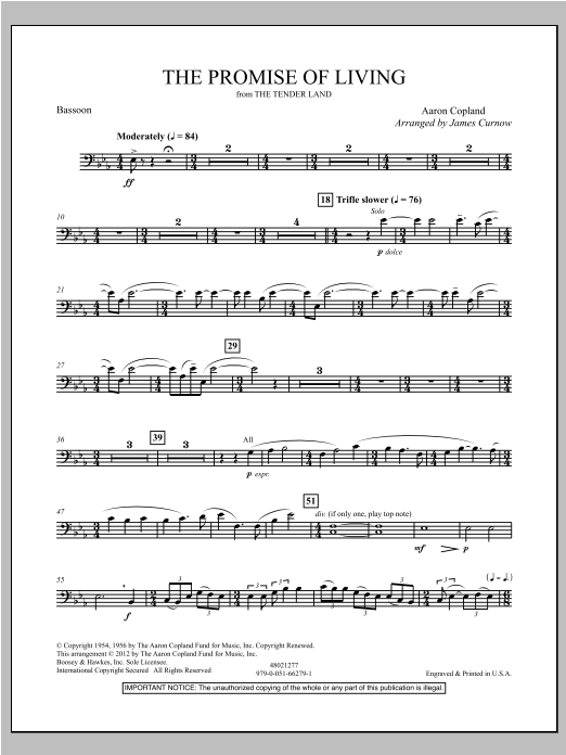 The Promise Of Living (from The Tender Land) - Bassoon Sheet Music