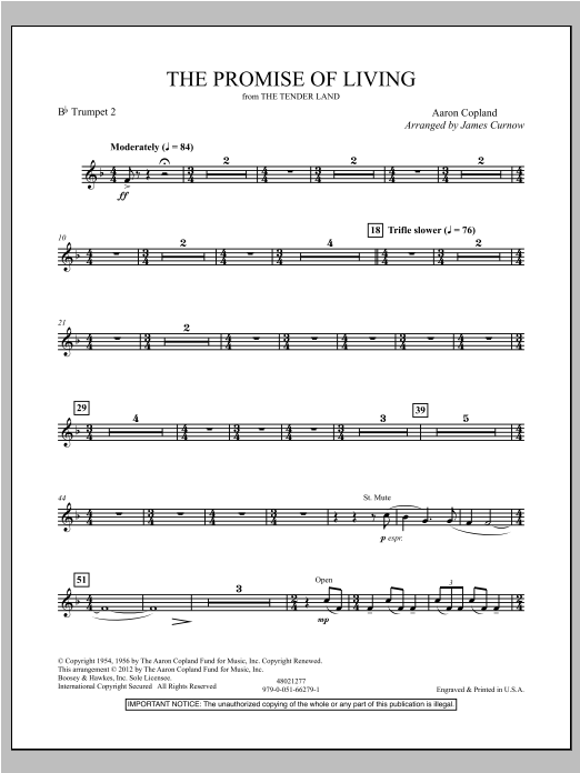 The Promise Of Living (from The Tender Land) - Bb Trumpet 2 Sheet Music