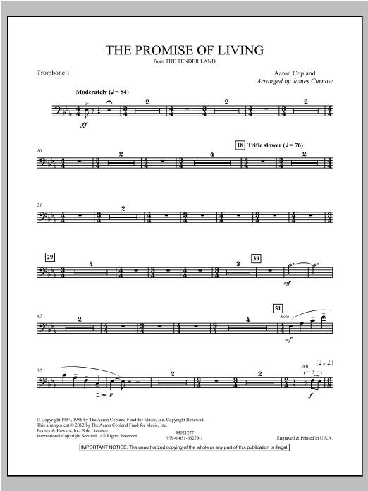 The Promise Of Living (from The Tender Land) - Trombone 1 Sheet Music