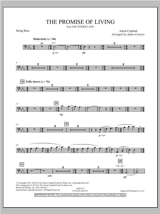 The Promise Of Living (from The Tender Land) - String Bass Sheet Music
