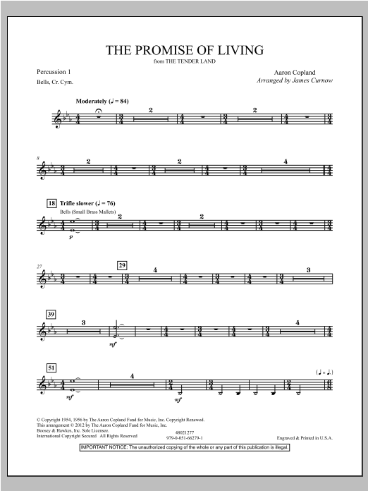 The Promise Of Living (from The Tender Land) - Percussion 1 Sheet Music