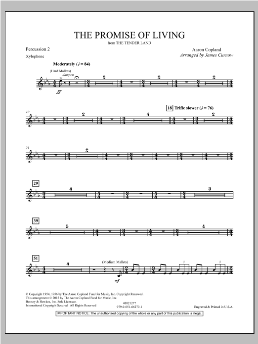 The Promise Of Living (from The Tender Land) - Percussion 2 Sheet Music