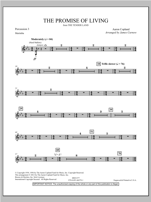 The Promise Of Living (from The Tender Land) - Percussion 3 Sheet Music