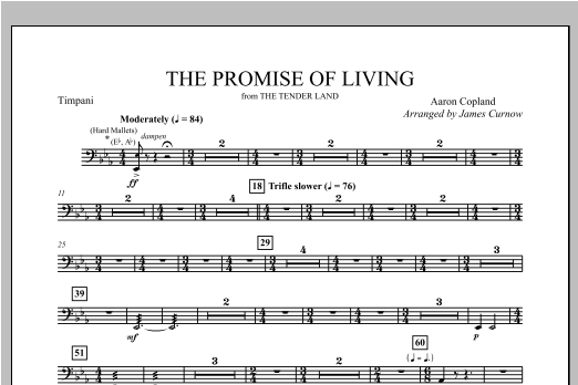 The Promise Of Living (from The Tender Land) - Timpani Sheet Music
