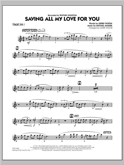 Saving All My Love for You - Tenor Sax 1 (Jazz Ensemble)