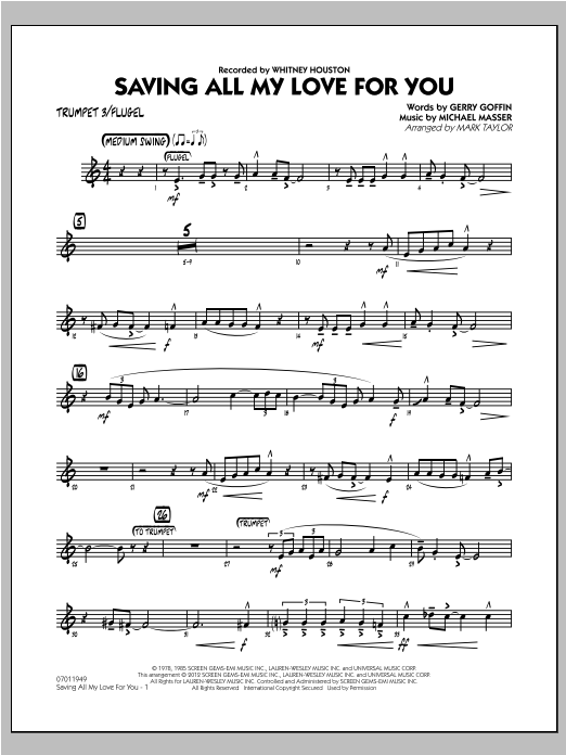 Saving All My Love for You - Trumpet 3 Sheet Music