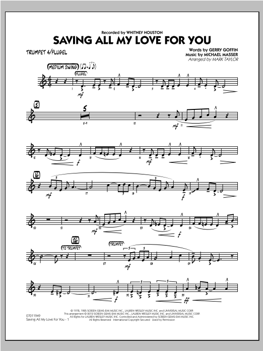 Saving All My Love for You - Trumpet 4 Sheet Music