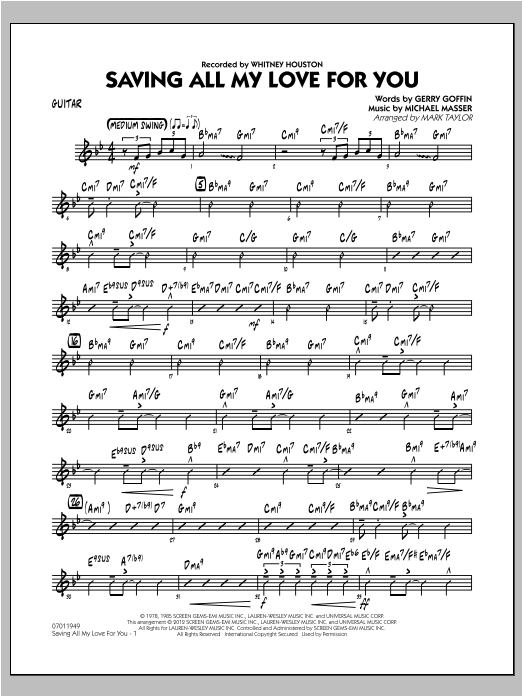 Saving All My Love for You - Guitar Sheet Music