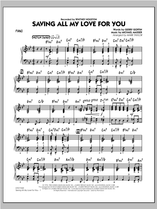 Saving All My Love for You - Piano Sheet Music
