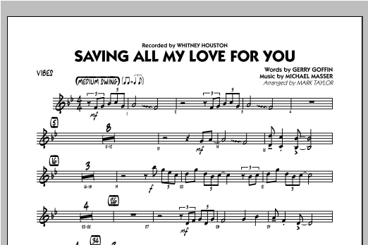 Saving All My Love for You - Vibes Sheet Music