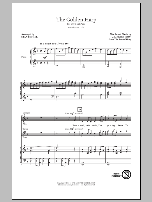 The Golden Harp (arr. Stan Pethel) Sheet Music
