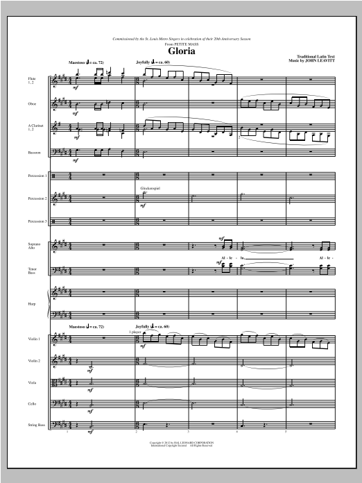 Gloria (from Petite Mass) (complete set of parts) sheet music for orchestra/band (Chamber Orchestra) by John Leavitt. Score Image Preview.