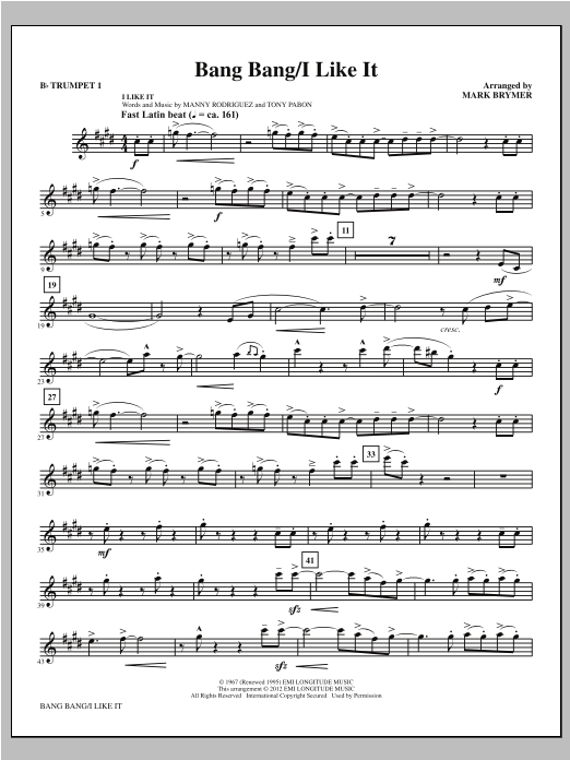 Bang Bang/I Like It (complete set of parts) sheet music for orchestra/band (chamber ensemble) by Mark Brymer. Score Image Preview.