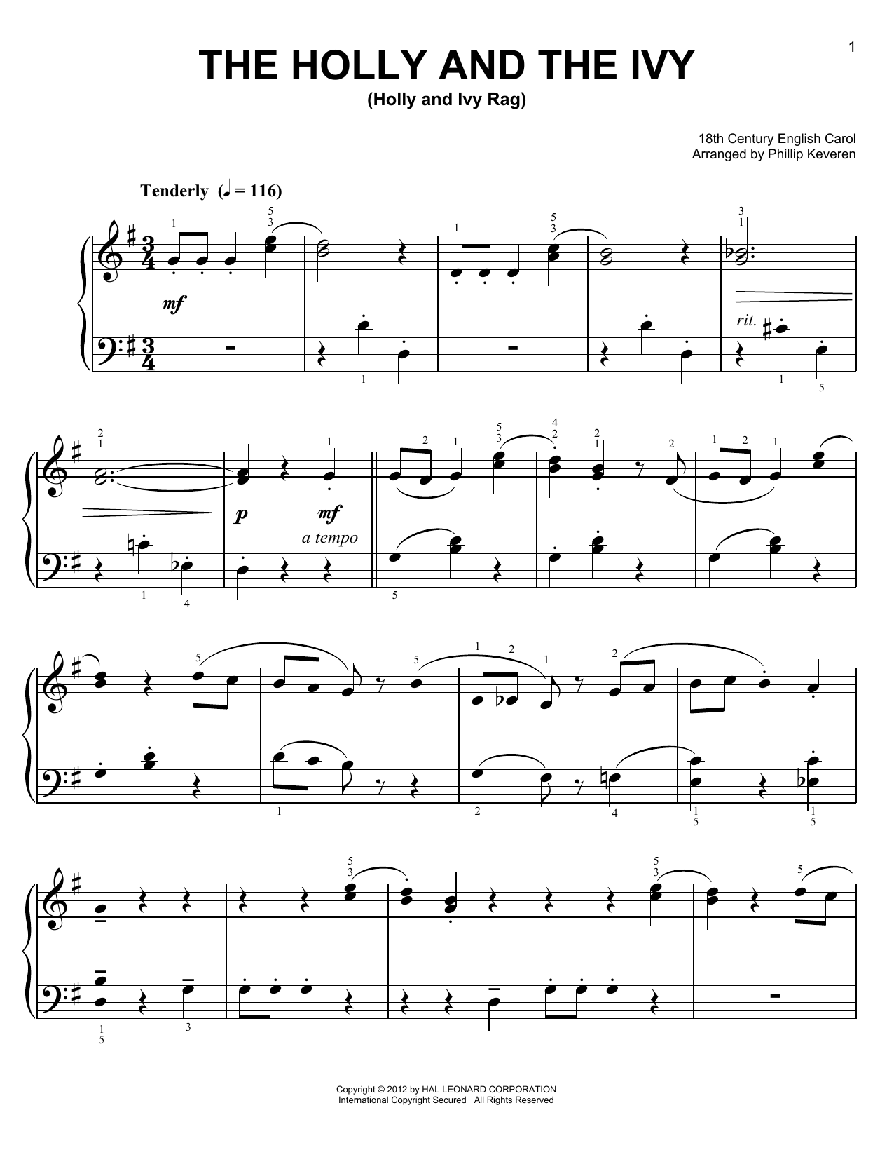 The Holly And The Ivy [Ragtime version] (arr. Phillip Keveren) (Easy Piano)