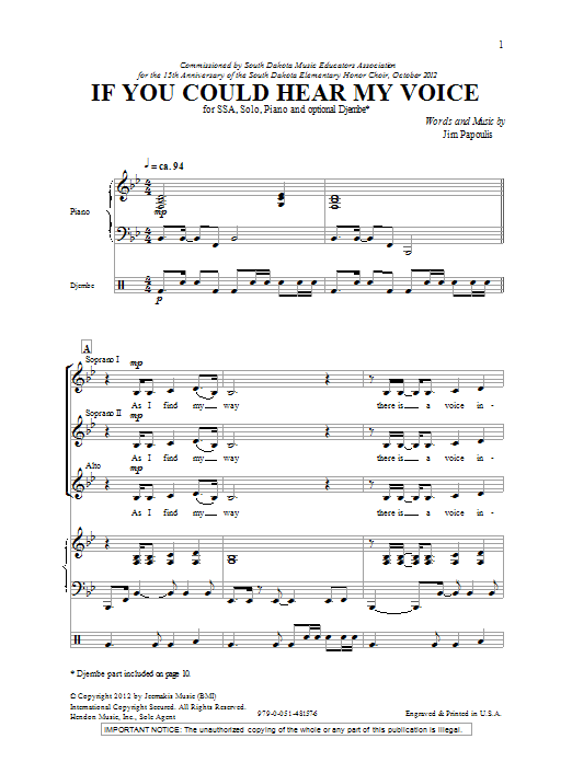 If You Could Hear My Voice Sheet Music