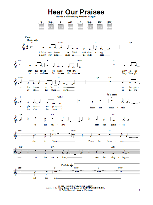hear our praises sheet music direct