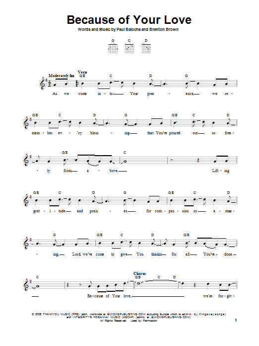 Because Of Your Love Sheet Music