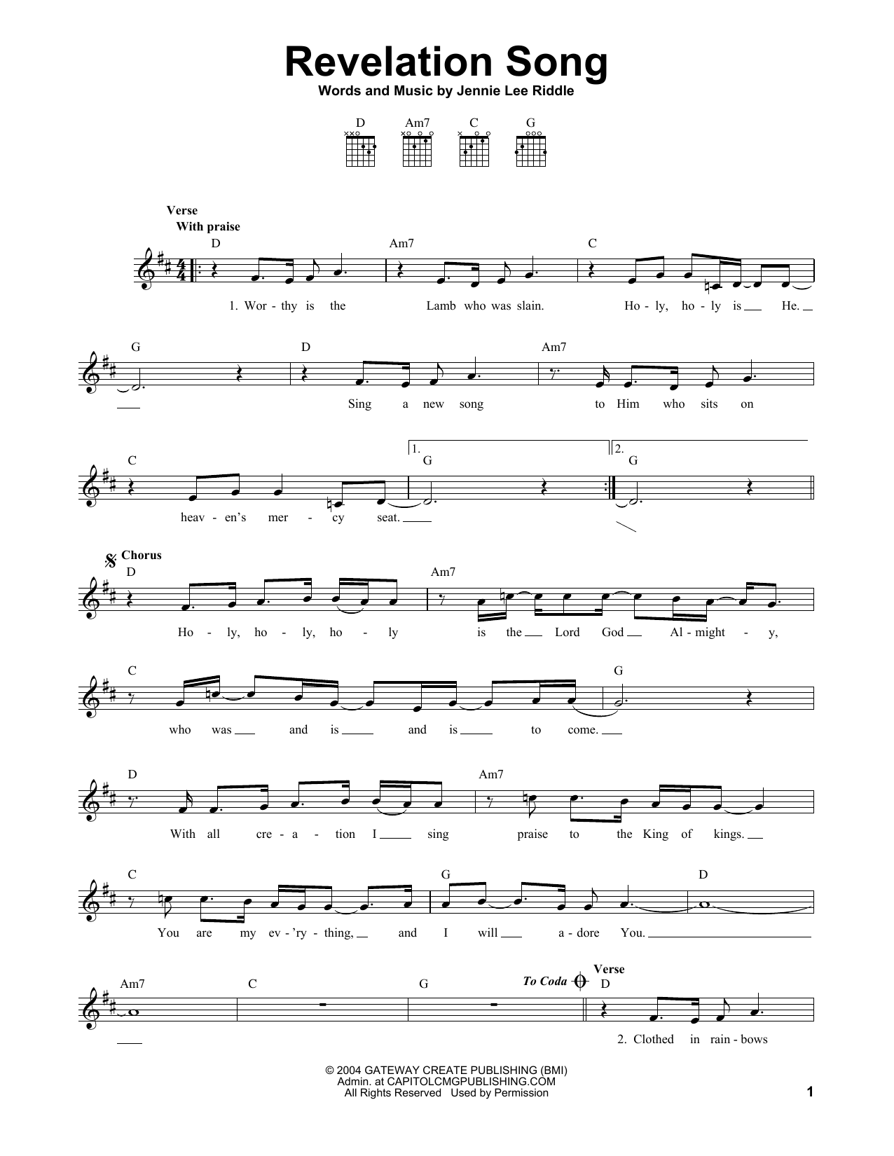 Revelation Song (Easy Guitar)