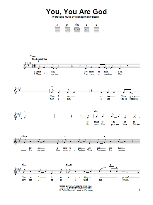 You, You Are God Sheet Music
