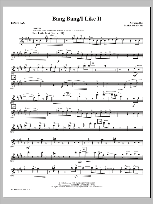 Bang Bang/I Like It - Tenor Sax Sheet Music