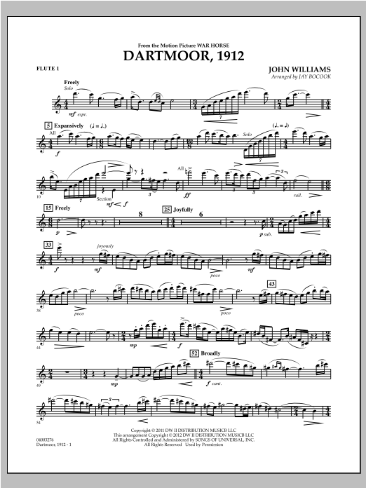 Dartmoor, 1912 (from War Horse) - Flute 1 Sheet Music