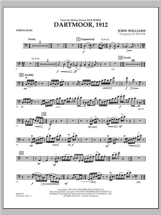 Dartmoor, 1912 (from War Horse) - String Bass Sheet Music