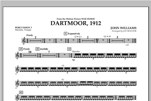 Dartmoor, 1912 (from War Horse) - Percussion 3 Sheet Music