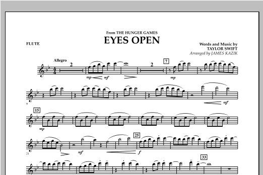Eyes Open (from The Hunger Games) - Flute Sheet Music