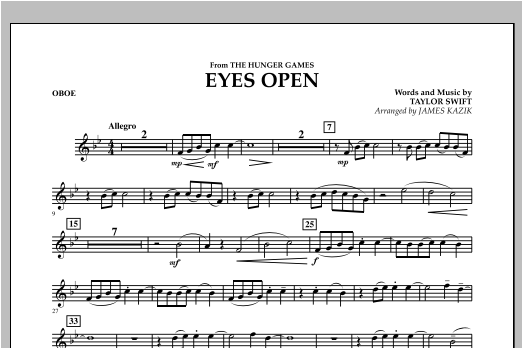 Eyes Open (from The Hunger Games) - Oboe Sheet Music
