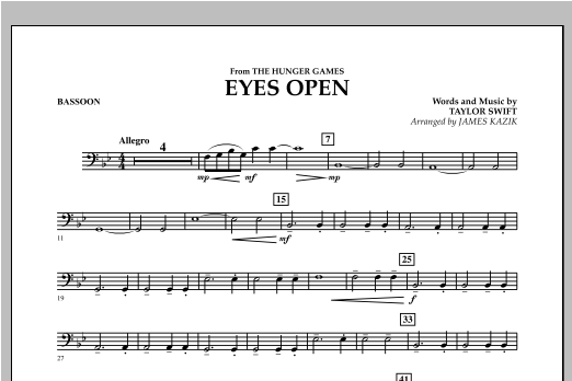 Eyes Open (from The Hunger Games) - Bassoon Sheet Music