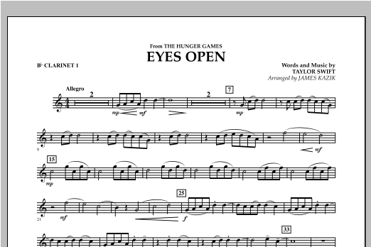 Eyes Open (from The Hunger Games) - Bb Clarinet 1 Sheet Music