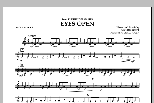 Eyes Open (from The Hunger Games) - Bb Clarinet 2 Sheet Music