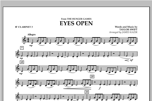 Eyes Open (from The Hunger Games) - Bb Clarinet 3 Sheet Music
