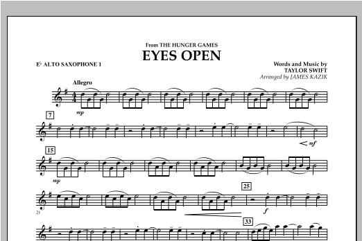 Eyes Open (from The Hunger Games) - Eb Alto Saxophone 1 Sheet Music
