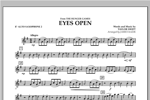 Eyes Open (from The Hunger Games) - Eb Alto Saxophone 2 Sheet Music
