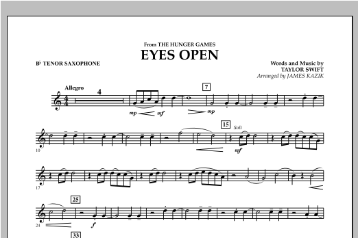Eyes Open (from The Hunger Games) - Bb Tenor Saxophone Sheet Music